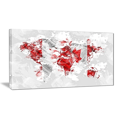 Designart Canadian Flag Grey Map Canvas Art Print, (PT2742-32-16)