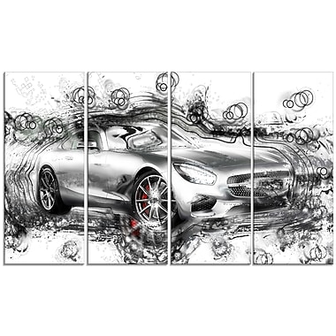 Designart Abstract Grey Luxury Car Large Gallery Wrapped Canvas, (PT2619-271)