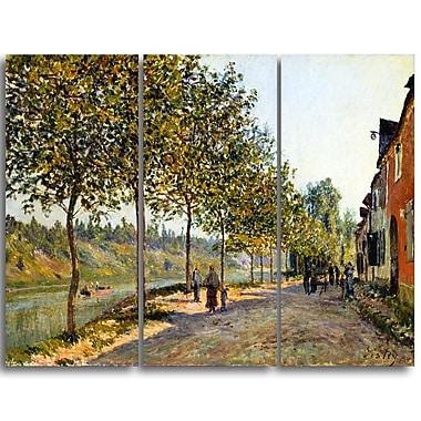 Designart Alfred Sisley, June Morning in Saint-Mammes Master Piece Landscape Artwork, (PT4131-3P)