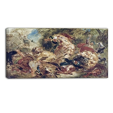 Designart Eugene Delacroix, The Lion Hunt Canvas Art Print, (PT4366-32-16)