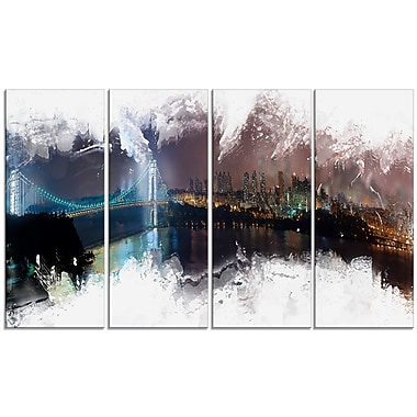Designart Bridge to the City Cityscape Canvas Art Print, (PT3316-271)