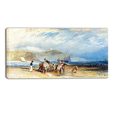 Designart JMW Turner, Folkestone Harbour and Coast to Dover Sea & Shore Canvas Art Print, (PT4605-32-16)