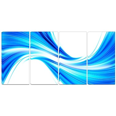 Designart Peaceful Blue Flowing Through 4-Panel Modern Canvas Art Print, (PT3072-271)