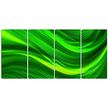 Designart Green Laser 4-Panel Modern Canvas Art Print, (PT3038-271)