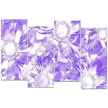 Design Art – Fleurs violettes, impression sur toile 4 panneaux