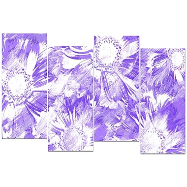 Designart Purple Flowers 4-Panel Canvas Art Print, (PT3417-3-271)
