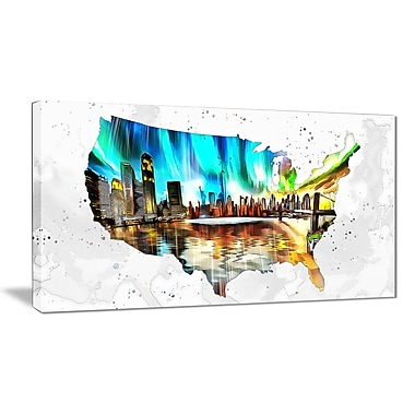 Designart City Life on the Map Canvas Art Print, (PT2832-32-16)