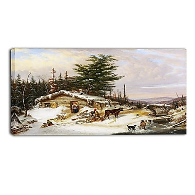 Designart – Tableau paysage imprimé sur toile, Cabane en rondins de Cornelius Krieghoff (PT4274-40-20)