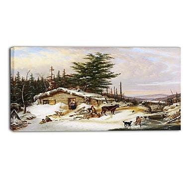 Designart Cornelius Krieghoff, Settlers Log House Landscape Canvas Arwork, (PT4274-32-16)