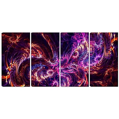 Designart Abstract Tidal Wave at Night 4-Panel Contemporary Canvas Art Print, (PT3064-271)