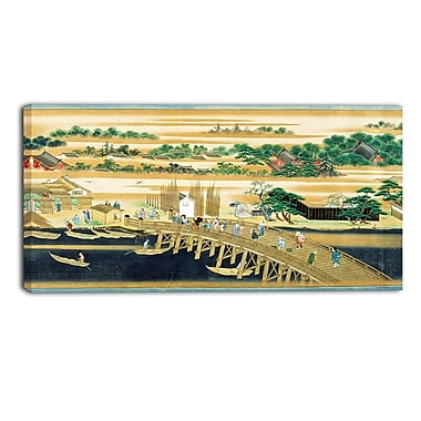 Designart Sumiyoshi, Famous Sites of the Sumida River Large Asian Canvas Art, (PT4929-32-16)