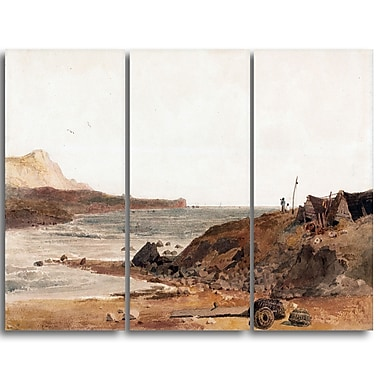 Designart Peter DeWint, Coast Scene Large Sea & Shore Canvas Art, (PT4829-3P)