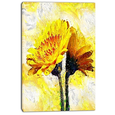 Designart Pair of Yellow Flowers Floral Canvas Art Print, (PT3440-24-40)