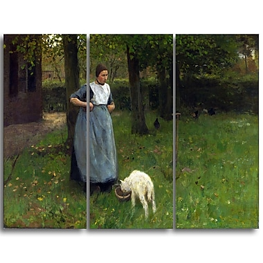 Designart Anton Mauve, Woman from Laren with Lamb Master Piece Landscape Artwork, (PT4149-3P)