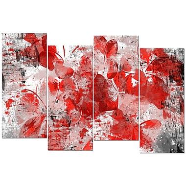 Design Art – Imprimé abstrait sur toile, pétales de fleur rouge orangé, 4 panneaux