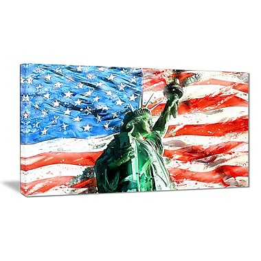 Designart Lady Liberty on US Flag Large Americana Canvas Art Print, (PT2805-32-16)