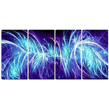 Designart Blue Electricity 4-Panel Modern Canvas Art Print, (PT3084-271)
