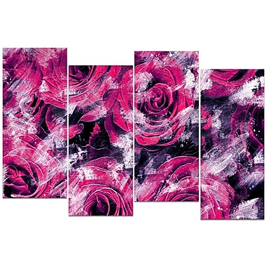 Designart Pink Rose Garden 4-Panel Canvas Art Print, (PT3430-2-271)