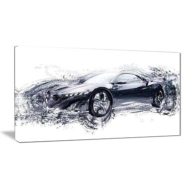 Designart – Toile étirée sur les bords, élégante voiture noire exotique (PT2627-32-16)