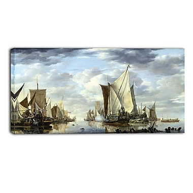 Designart Jan van de Cappelle, Shipping in a Calm at Flushing Canvas Art Print, (PT4555-32-16)