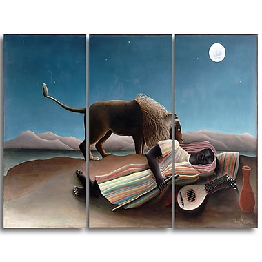 Designart Henri Rousseau, The Sleeping Gypsy Lansdcape Canvas Artwork, (PT4494-3P)