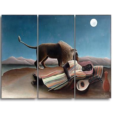 Designart – Henri Rousseau, La Bohémienne endormie imprimée sur toile panoramique (PT4494-3P)