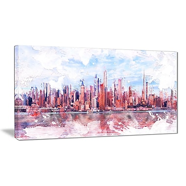 Designart Pink Bay Cityscape Large Canvas Art Print, (PT3321-40-20)