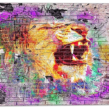 Designart Lion in the City Street Art Canvas Artwork, (PT3631-30-30)