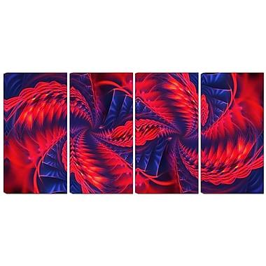 Designart – Imprimé moderne sur toile, virevent rouge et violet, 4 panneaux (PT3076-271)
