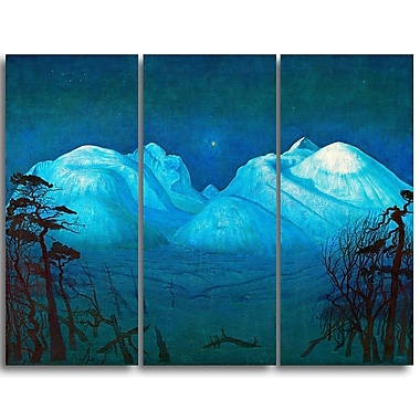 Designart Harald Sohlberg, Winter Night in the Mountains Lansdcape Canvas Artwork, (PT4482-3P)