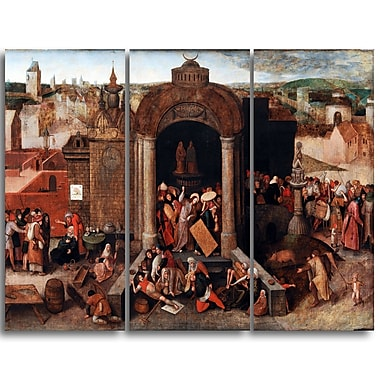 Designart Pieter Bruegel, Christ Driving the Traders Canvas Art Print, (PT4858-3P)