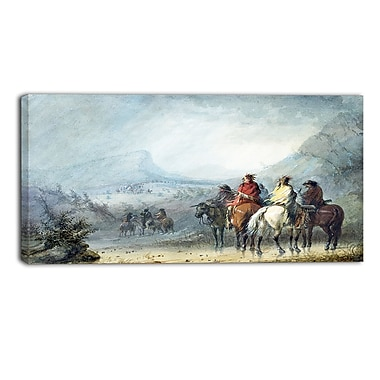 Designart Alfred Jacob Miller, Waiting for the Caravan Large Landscape Canvas Art Print, (PT4126-32-16)