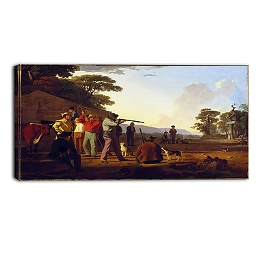 Designart George Caleb Bingham, Shooting for the Beef Landscape Canvas Art Print, (PT4412-40-20)