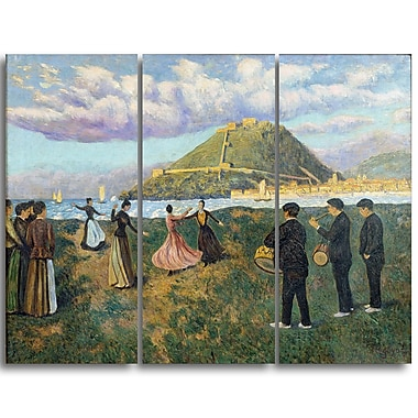 Designart Dario de Regoyos, Basque Celebration Landscape Canvas Arwork, (PT4280-3P)
