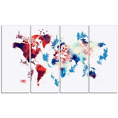 Designart – Imprimé sur toile, carte du monde rouge et bleu (PT2716-271)
