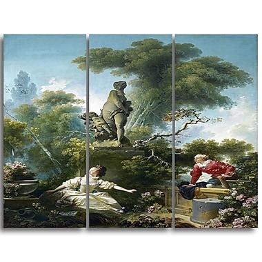 Designart Jean-Honore Fragonard, The Meeting Canvas Art Print, 3 Panels, (PT4587-3P)