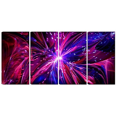 Designart Pink and Purple Dreams Come True 4-Panel Contemporary Canvas Art Print, (PT3068-271)