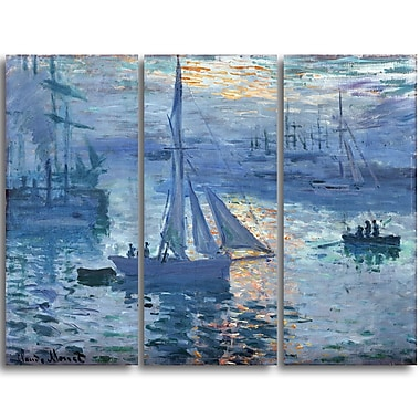 Designart Claude Monet, Sunrise, Marine Canvas Art Print, (PT4230-3P)