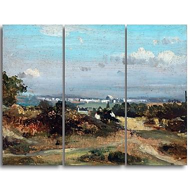 Designart Frederick W Watts, A View in Suffolk Landscape Canvas Art Print, (PT4402-3P)