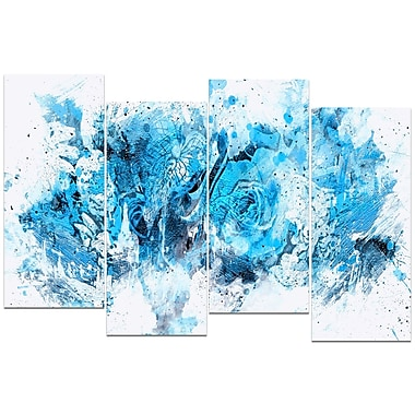 Designart Blue Purple Flowers 4-Panel Canvas Art Print, (PT3414-3-271)