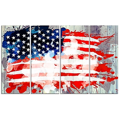 Designart Abstract US Flag, Canvas Art, (PT2825-271)