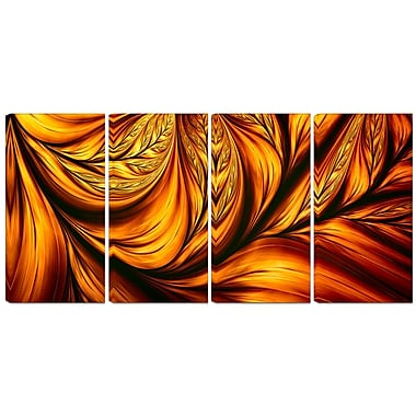 Designart Golden Leaf 4-Panel Abstract Canvas Art Print, (PT3096-271)