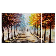 Design Art Landscape Forest Lets Go For A Stroll 4-Panel Canvas Art Print