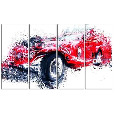 Designart – Voiture ancienne rouge, toile de style galerie, 4 panneaux