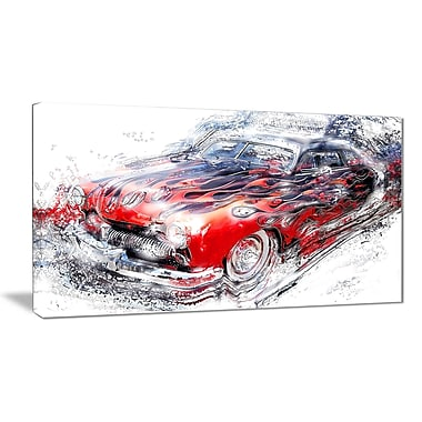 Designart American Burn Out Car Art Small Gallery Wrapped Canvas, (PT2606-32x16)