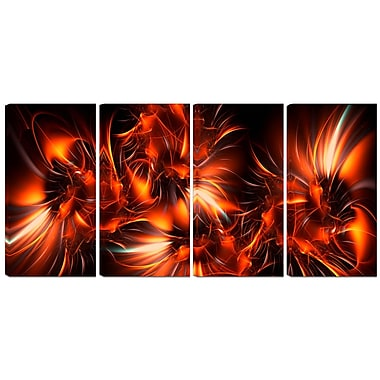 Designart Orange Startbusts 4-Panel Contemporary Canvas Art Print, (PT3060-271)