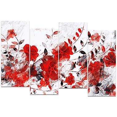 Designart – Art imprimé sur toile, chemin de fleurs orange et rouges, 4 panneaux (PT3409-2-271)