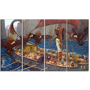 Designart John William Waterhouse, Ulysses and the Sirens Canvas Art Print, (PT4663-271)