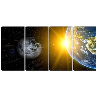 Designart Sun Moon and Earth 4-Panel Our Worlds Abstract Canvas Art Print, (PT3088-271)
