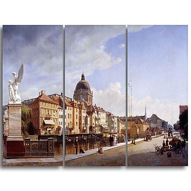 Designart Eduard Gaertner, Rearview of the House Landscape Canvas Art Print, (PT4323-3P)